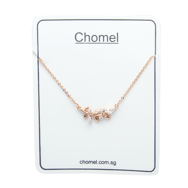 Cubic Zirconia Leaf Necklace - CHOMEL