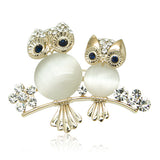 Simulated Moonstone Owl Brooch