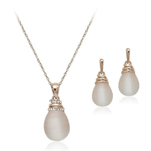 Simulated Moonstone Necklace and Earring Set