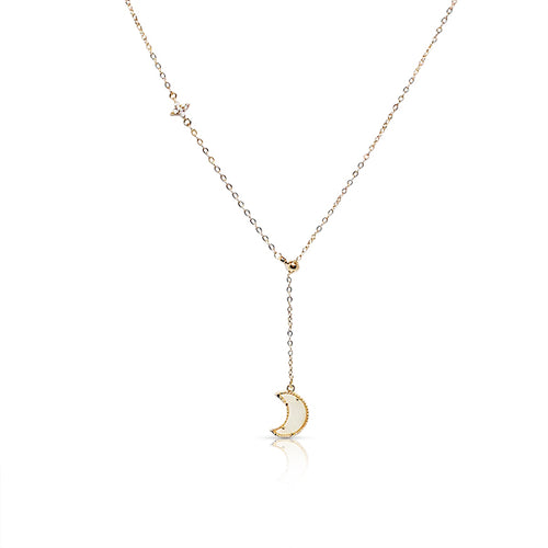Mother of Pearl Moon Drop Pendant Necklace