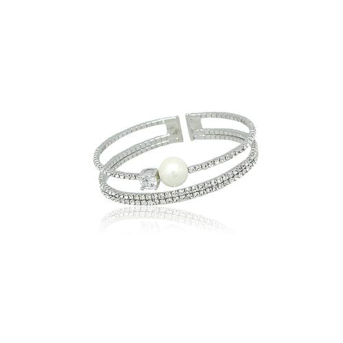 Simulated Pearl Cuff Bangle - CHOMEL
