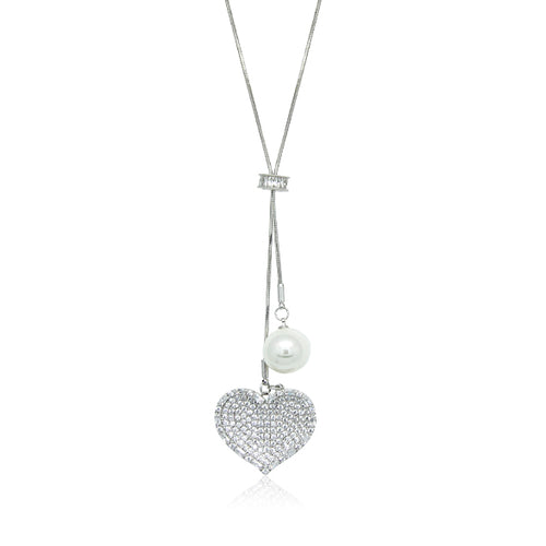 Heart Simulated Pearl Long Necklace - CHOMEL