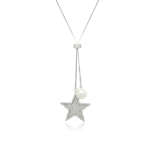Star Simulated Pearl Long Necklace