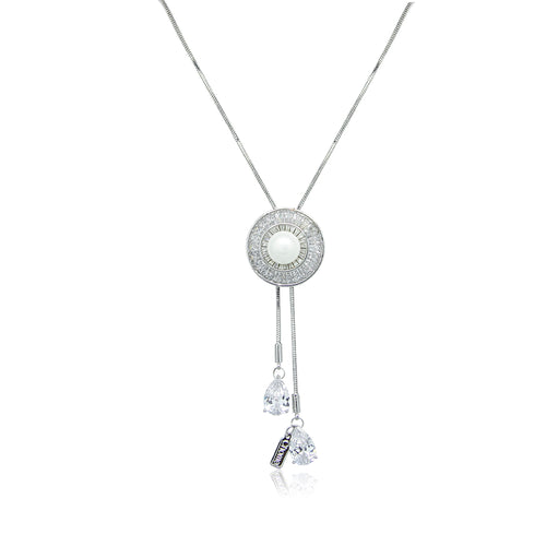 Simulated Pearl and Cubic Zirconia Long Necklace