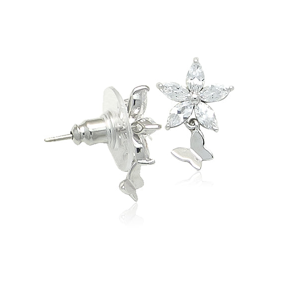 Cubic Zirconia Flower Stud Earrings with Butterfly Drops