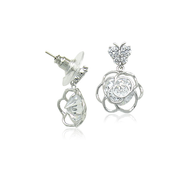 Rose Flower Drop On Butterfly Stud Earrings