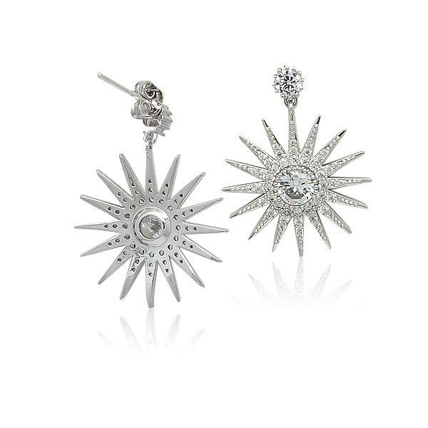 Starburst Cubic Zirconia Drop Stud Earrings