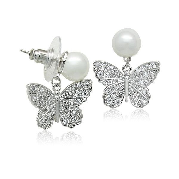 Simulated Pearl With Butterfly Drop Earrings