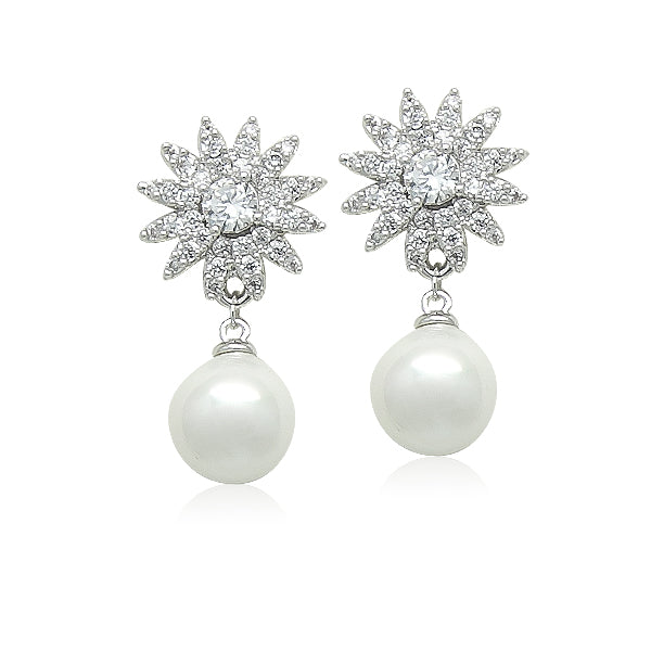 Simulated Pearl on Cubic Zirconia Starburst Earrings