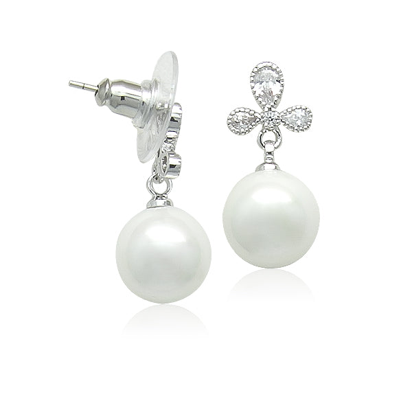 Simulated Pearl on CZ Stud Earrings