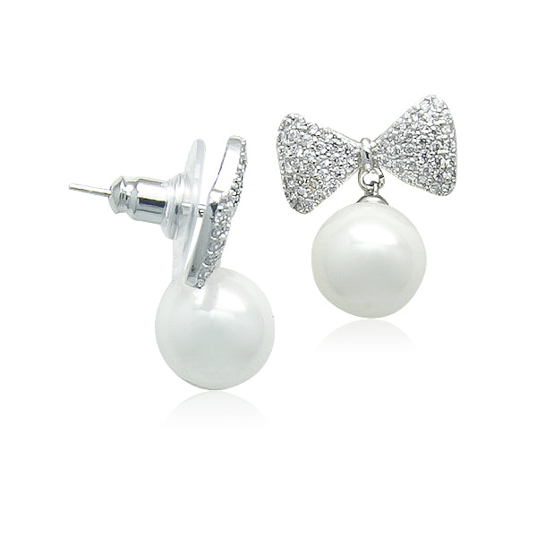 Simulated Pearl drops on CZ Ribbon Earrings