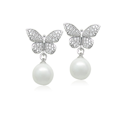 Simulated Pearl  on CZ Butterfly Earrings