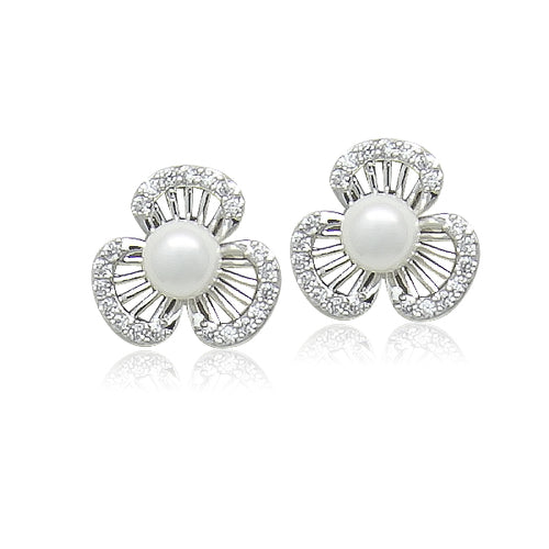 Simulated Pearl Flower Cubic Zirconia Earrings