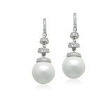 Simulated Pearl with CZ drop Earrings