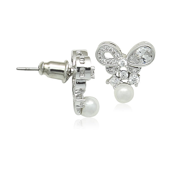 Simulated Pearl  on CZ Bow Earrings