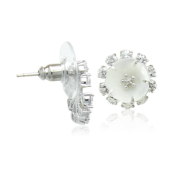 Mother of Pearl Flower with CZ Stud Earrings