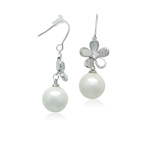 Simulated Pearl on Flower Earrings