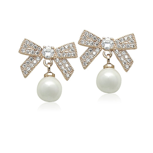 Simulated Pearl on Ribbon Design Earrings