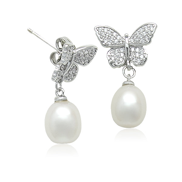 Freshwater Pearl Drop Butterfly Earrings