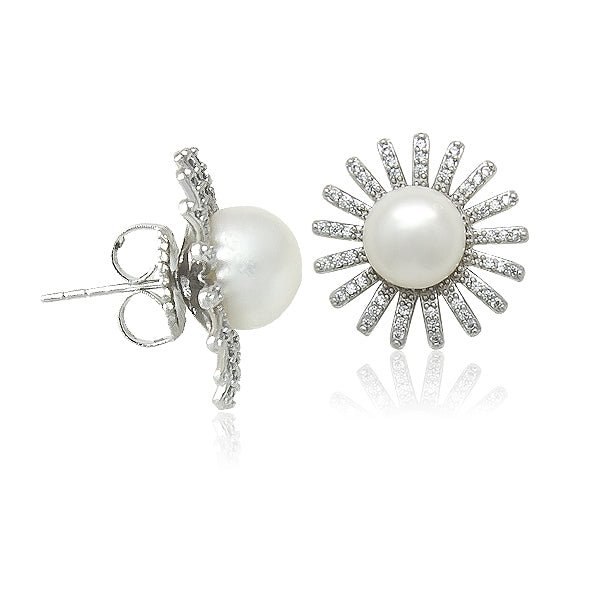 Freshwater Pearl Flower Earrings