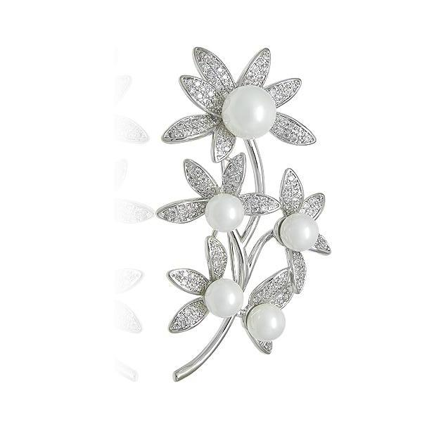 Simulated Pearl Flower Brooch