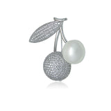 Simulated Pearl Cherry Brooch
