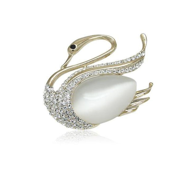 Simulated Moonstone Gold Brooch