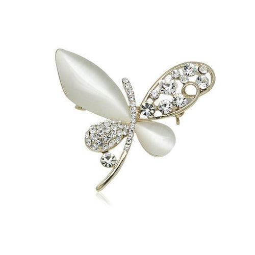 Simulated Moonstone Butterfly Brooch