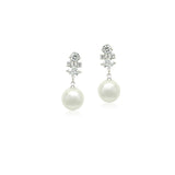 Simulated Pearl with Cubic Zirconia Necklace & Earring Set