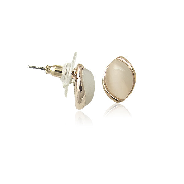 Simulated Moonstone Stud Earrings - CHOMEL