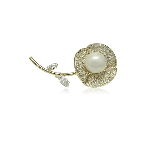 Simulated Pearl with Cubic Zirconia Brooch