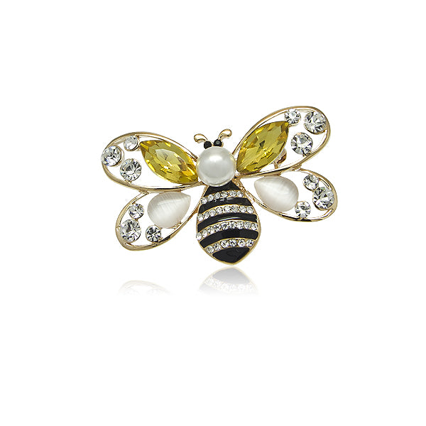 Simulated Pearl Bee Brooch - CHOMEL