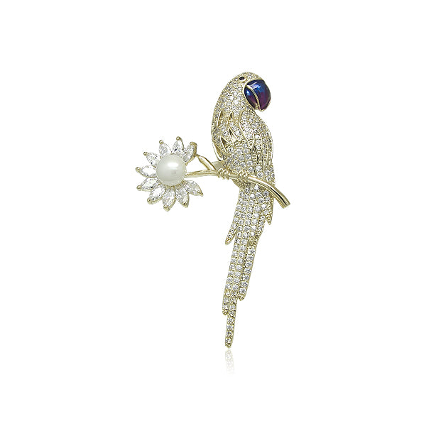Simulated Pearl Parrot Brooch
