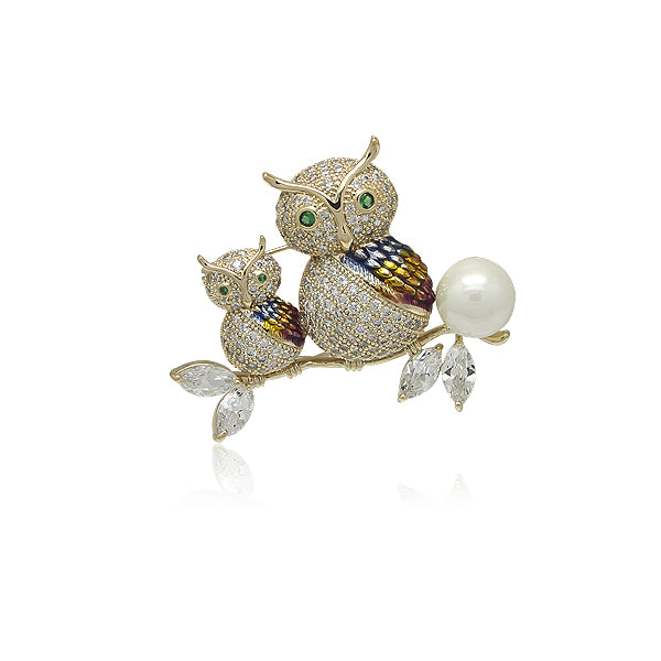Simulated Pearl Owl Brooch