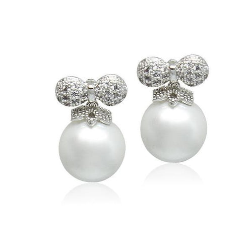 Simulated Pearl Drop Bow Earrings