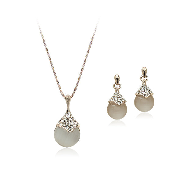 Simulated Moonstone Necklace & Earring Set