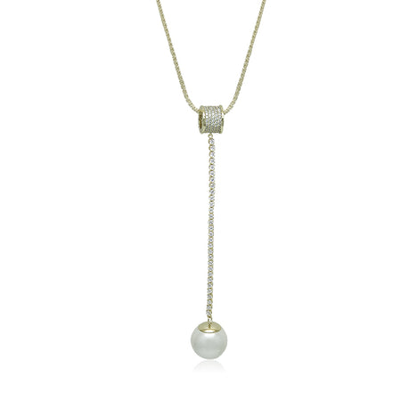 Simulated Pearl & CZ Long Necklace
