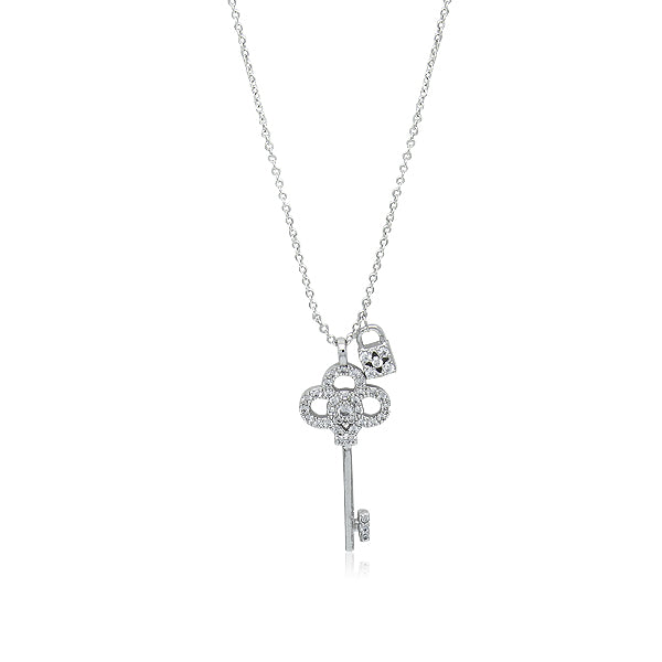 Cubic Zirconia Lock & Key Pendant Necklace
