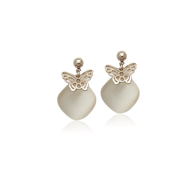 Simulated Moonstone Drop Stud Earrings