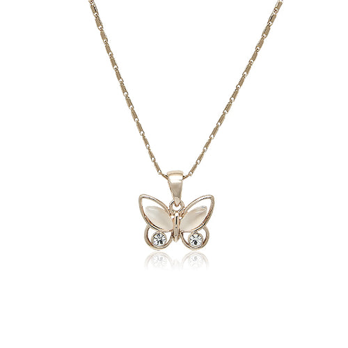 Butterfly Simulated Moonstone Necklace - CHOMEL