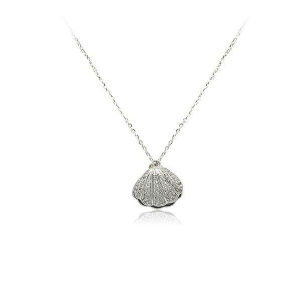Cubic Zirconia Shell Pendant Necklace