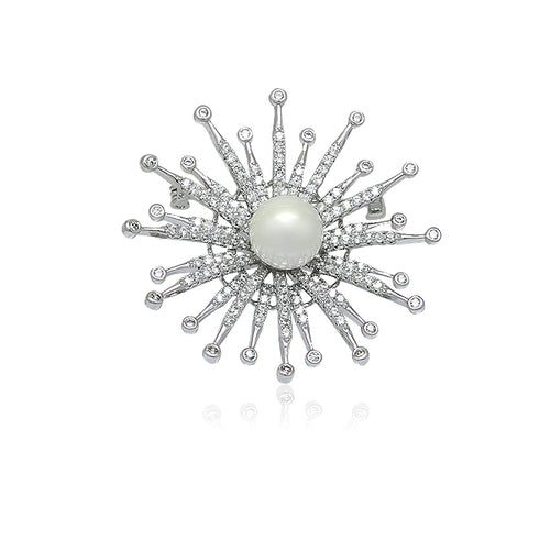 Simulated Pearl Brooch