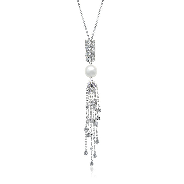 Simulated Pearl and Cubic Zirconia Tassel Long Necklace