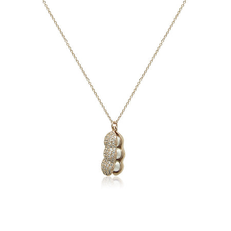 Simulated Pearl Long Key Pendant Necklace
