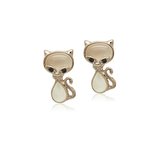 Cat Simulated Moonstone Earrings