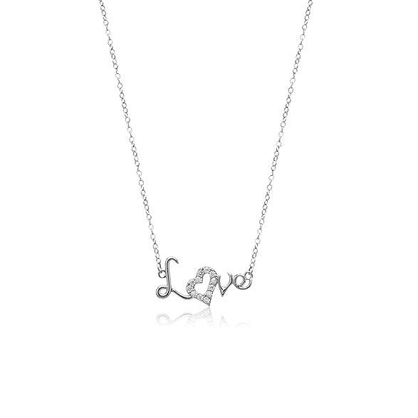 LOVE Cubic Zirconia Necklace - CHOMEL