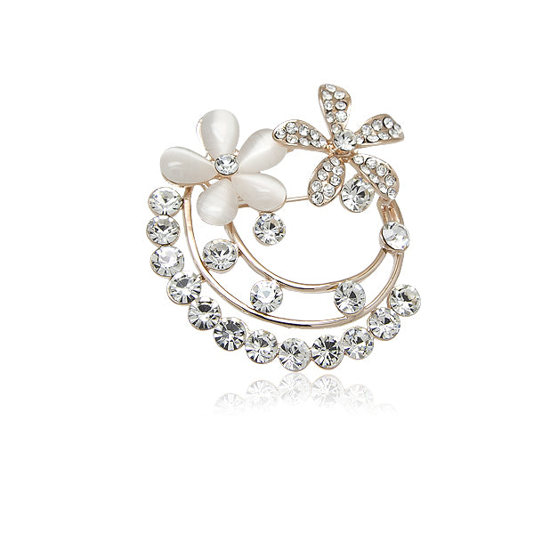 Simulated Moonstone Rosegold Brooch