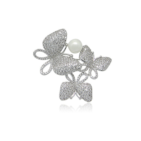 Simulated Pearl Cubic Zirconia Brooch