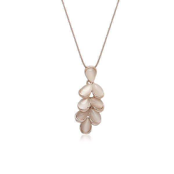 Leaf Simulated Moonstone Necklace - CHOMEL