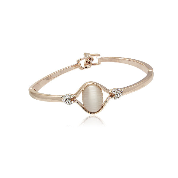 Simulated Moonstone Rosegold Bangle - CHOMEL